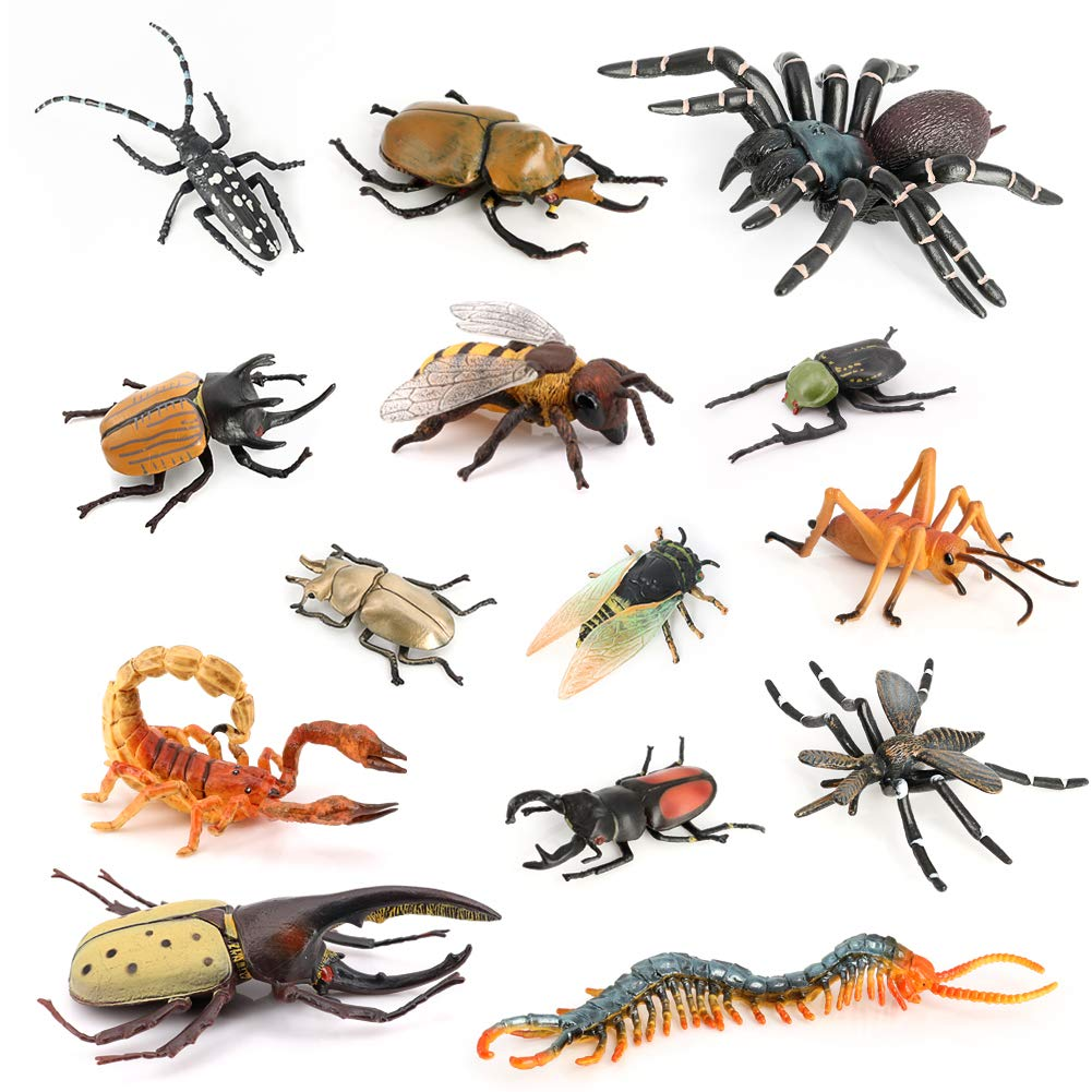 Volnau Insect Toys Figurines 14PCS Bug Toys Figure Pack for Kids Toddlers Christmas Birthday Gift Educational Bee Beetle Spider Plastic Model