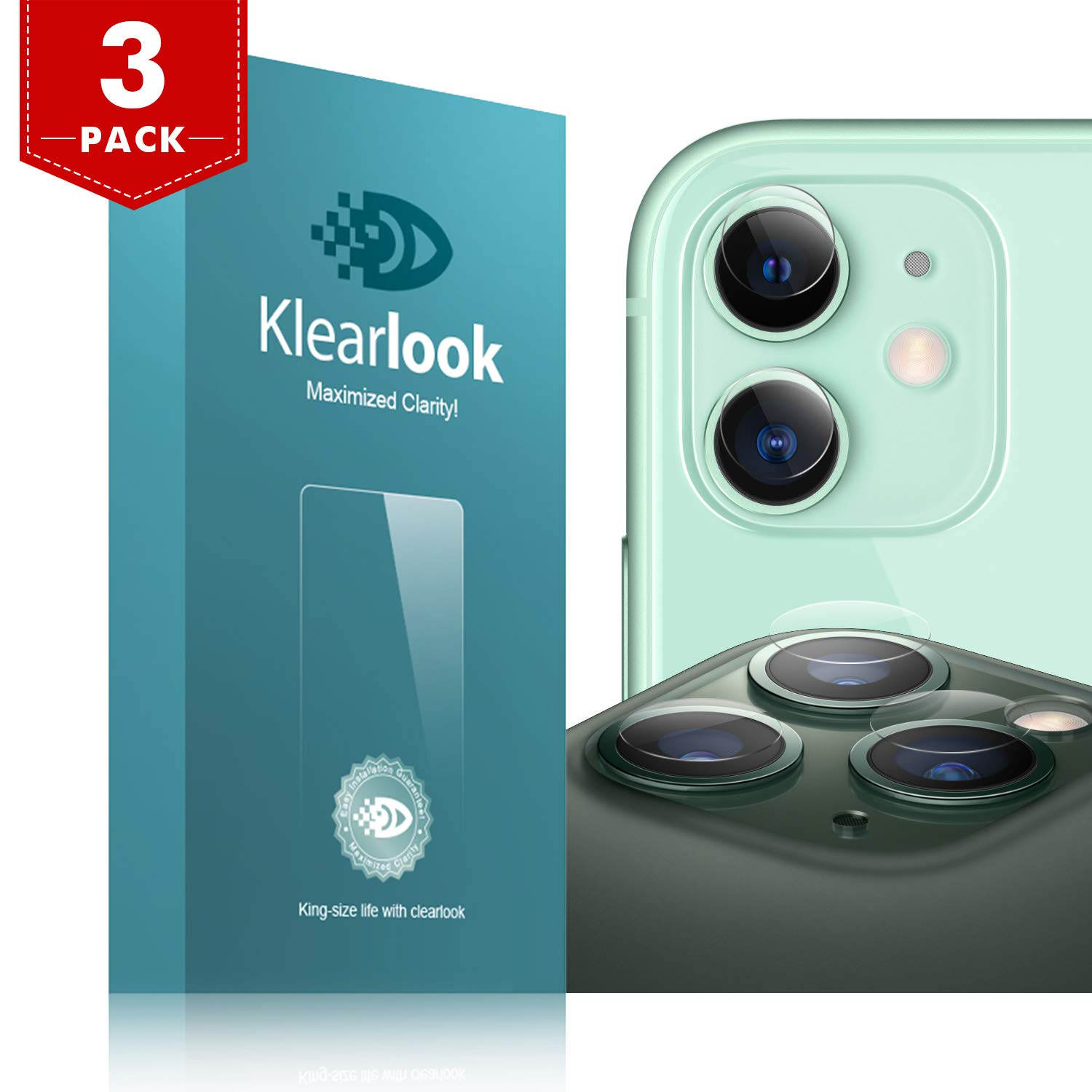 11/11 Pro/11 Pro Max Camera Lens Protector Klearlook Ultra HD/Thin Tempered Glass Back Camera Lens Cover Full Transparent/Anti-Scratch Compatible with iPhone 11,11 Pro,11 Pro Max 2019