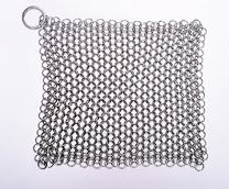 SMYLLS Stainless Steel 316 L Cast Iron Cleaner Chainmail Scrubber for Waffle Iron Pans,Seasoned Pan,Grill - Best Pot Brush (8×6 inch)