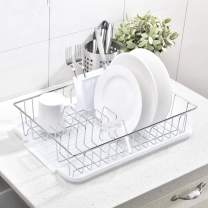 Modern 16.5 Inch Kitchen Metal Wire Chrome Finish White Dish Drying Rack, Dish Rack with Drainboard and Cutlery Cup Utensil Organizer Holder