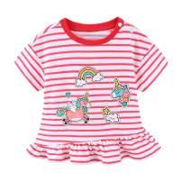 Mud Kingdom Little Girls T-Shirt Short Sleeve Cute Stripe Unicorn