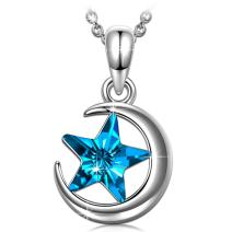 PAULINE&MORGEN ✦to The Moon and Back✦ Mother's Day Necklace Gifts for Her Women Crescent Moon and Star Pendant Necklace for Women with Bermuda Blue Crystal from Swarovski Hypoallergenic