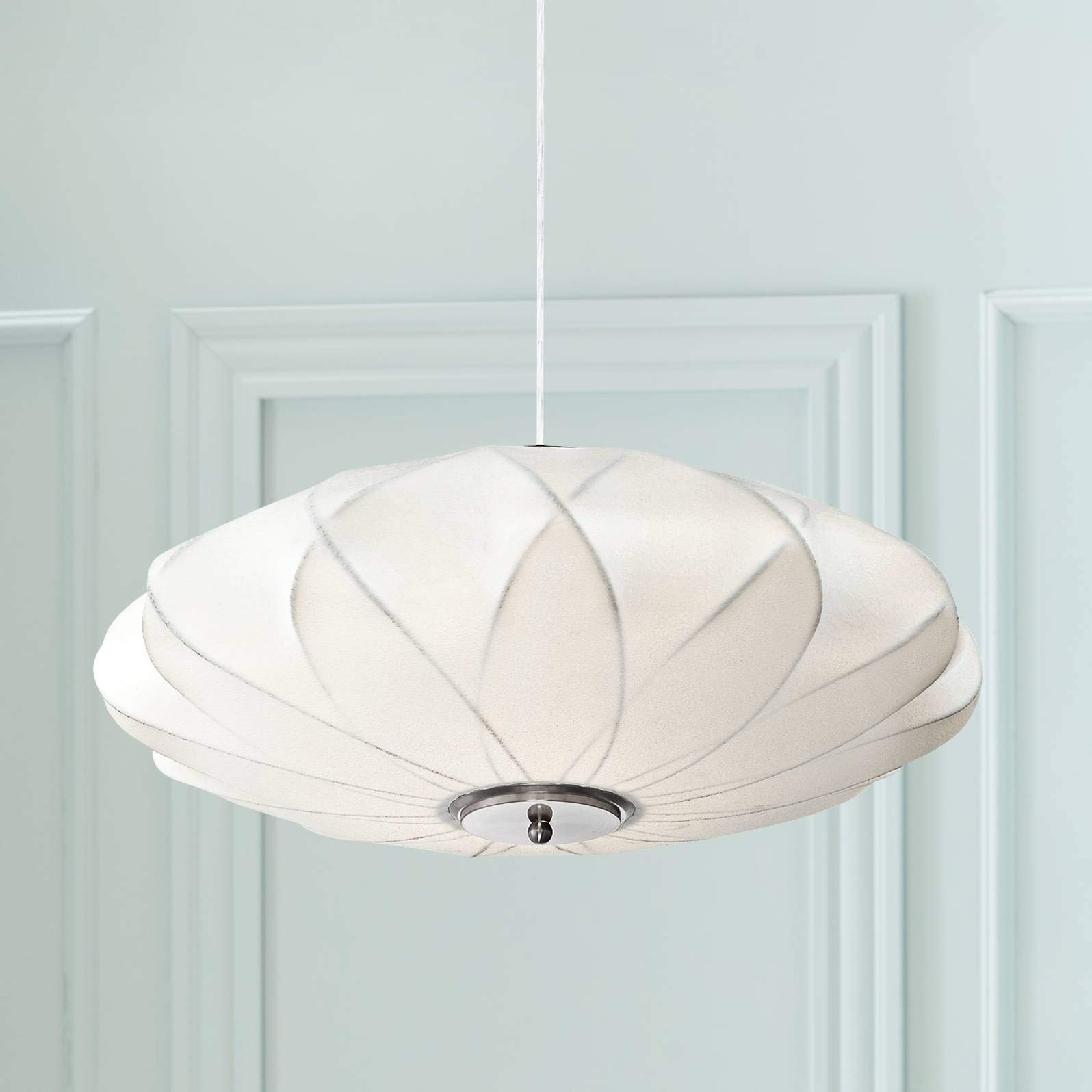 """Flower Cloud Brushed Nickel Pendant Chandelier 22 1/2"""" Wide Modern White Saucer Shade 3-Light Fixture for Dining Room House Foyer Kitchen Island Entryway Bedroom Living Room - Possini Euro Design"""