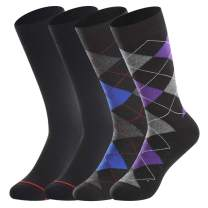 Men's Merino Wool Dress Socks by BONANGEL,Summer Casual Wool Socks,Lightweight,Breathable, Sweat-Wicking,Black & Argyle,Gifts