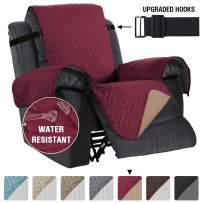 """Recliner Covers Recliner Chair Cover for Recliner Water Repellent Recliner Protector Cover for Dogs/Pets with Non Slip Elastic Strap, Quilted and Reversible (Sitting Width: 30"""", Burgundy/Beige)"""