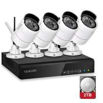 YESKAMO Security Camera System Wireless Outdoor Home Security Camera System 1080P 4 Channel Full HD 2.0 Megapixel IP Cameras CCTV Video Surveillance Cameras Systems with 2TB Hard Drive