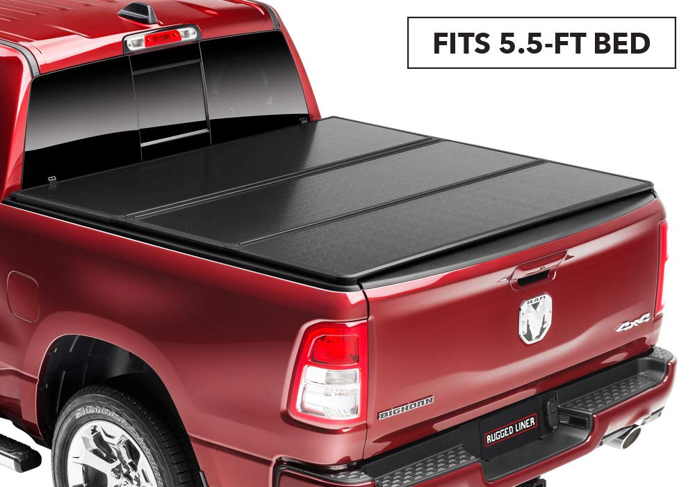 "Rugged Liner E-Series Hard Folding Truck Bed Tonneau Cover | EH-C5514TS | Fits 2014-2018, 19 Ltd/Lgcy. GMC/Chevy Sierra/Silverado (w/utility track) 5' 8"" Bed"