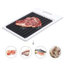 GEMITTO Rapid Defrosting Tray, Thawing Plate for Faster Defrosting Frozen Food, Defrost Plate with Hole for Easily Hanging, Quicker Safer Way to Defrost Meat Pork Beef Fish (Black Plate+White Frame)