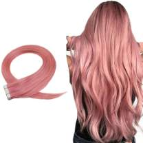 Easyouth Human Hair Tape Extensions Pink Color 16Inch 25g 10Pcs/set Tape In Hair Extensions Human Hair Adhesive Tape Hair Extensions