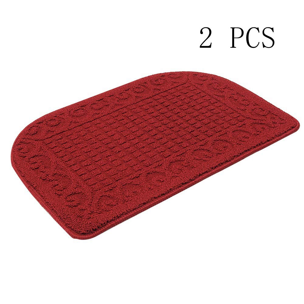 27X18 Inch Anti Fatigue Kitchen Rug Mats are Made of 100% Polypropylene Half Round Rug Cushion Specialized in Anti Slippery and Machine Washable,Burgundy (2 pcs)