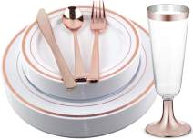 Facciamo Festa Rose Gold Plastic Plates with Cups and Cutlery Supplies 150 Pcs | Heavy Duty and Disposable Silverware for Birthday Party, Wedding, Reception, Christmas, Thanksgiving and Other Parties