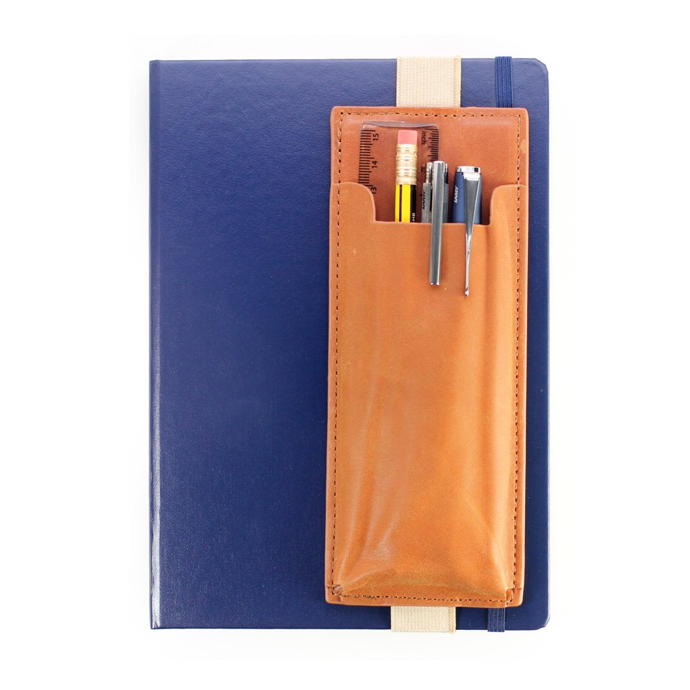 Leather Pen Holder for Notebooks or Bullet Journal - Elastic Quiver Pouch Sleeve for Multiple Pens, Brown/Tan