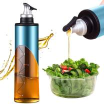 22 OZ Stainless Steel Oil Bottle, Glass Olive Oil Dispenser Bottle Unique Star Vein Scale Oil and Vinegar Cruet (Blue)