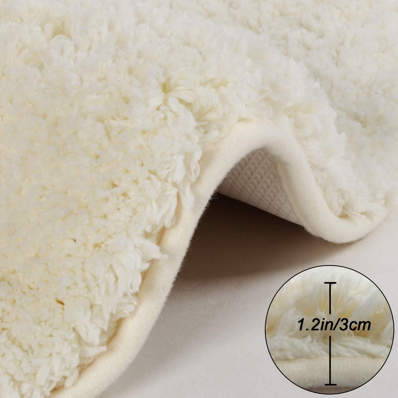 Seavish Luxury Ivory Contour Bath Rug, 19.5 X 19.5 Inches Shaggy Bathroom Rugs,Non Slip Efficient Water Absorbent Machine Washable Tufted Bath Mat Microfiber Soft Thick Plush U-Shaped Toilet Mat