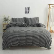 DONEUS Jersey Knit Cotton Duvet Cover King, 1 Duvet Cover and 2 Pillow Cases, Simple Striped Design, Super Soft and Easy Care Bedding Set(Charcoal & Grey Stripe)