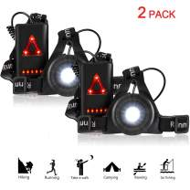RODH Night Running Lights Jogging Led Chest Light Walking Safety Back Warning Light for Runners Joggers Walking Biking Hiking Super Bright with USB Rechargeable Battery Adjustable Strap - 2 Pack