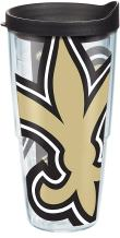 Tervis 1271126 NFL New Orleans Saints Colossal Tumbler with Wrap and Black Lid 24oz, Clear