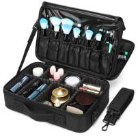 Makeup Bag, Packism 2 Tier Professional Makeup Organizer Bag Travel Makeup Case, Waterproof Cosmetic Bag for Women, Portable Makeup Case with Adjustable Dividers for Toiletry Make Up Jewelry, Black