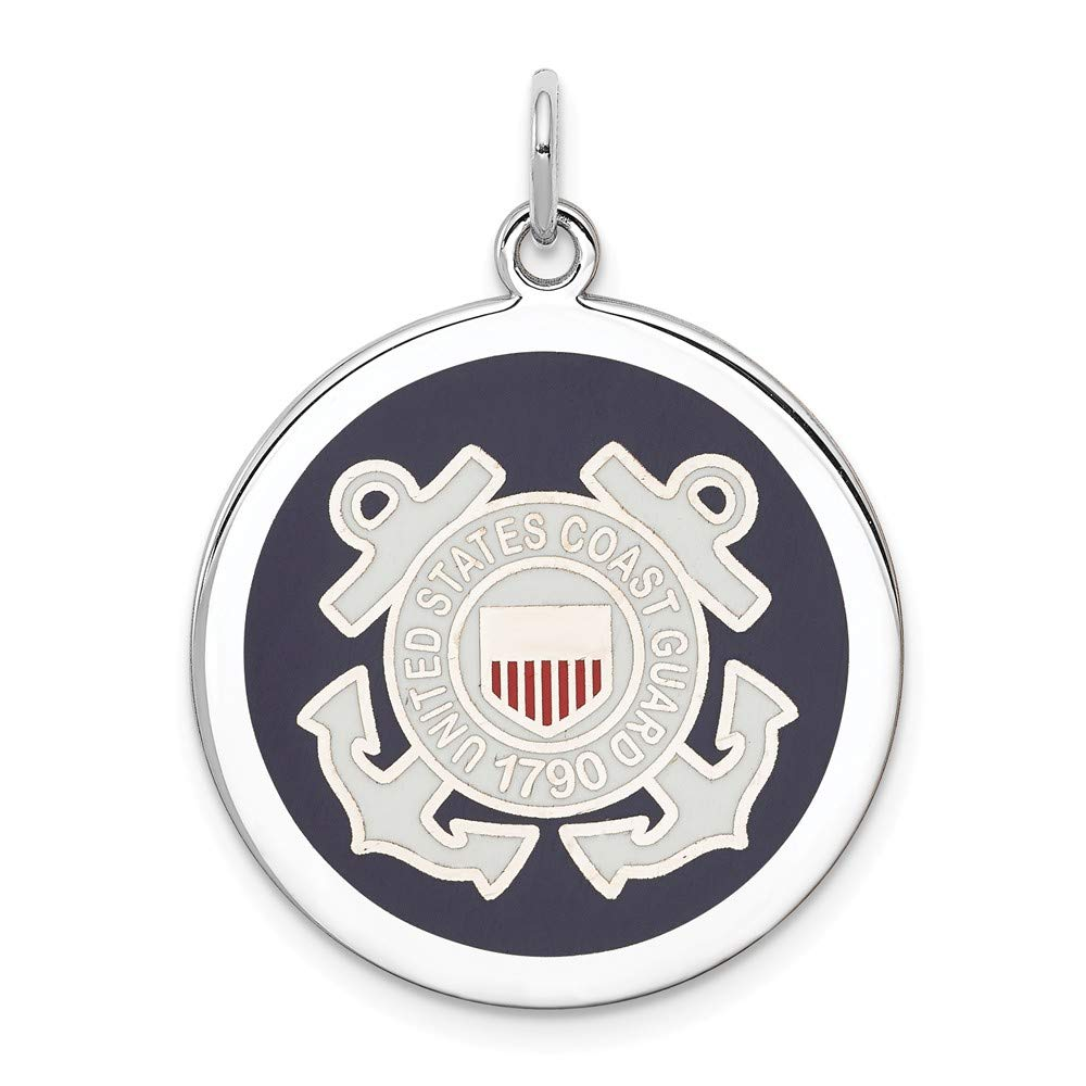 925 Sterling Silver Us Coast Guard Disc Necklace Pendant Charm Military Fine Jewelry For Women Gifts For Her