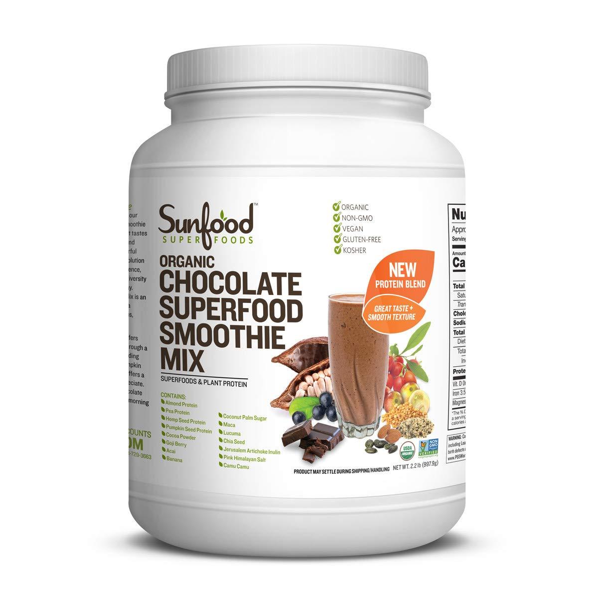 Sunfood Chocolate Superfood Smoothie Mix | New Plant-Based Protein Blend (Pea, Hemp, Almond, Pumpkin) | Highest Quality All-Natural Ingredients | Organic, Non-GMO, Vegan, Gluten Free | 2.2 lb Bulk Tub