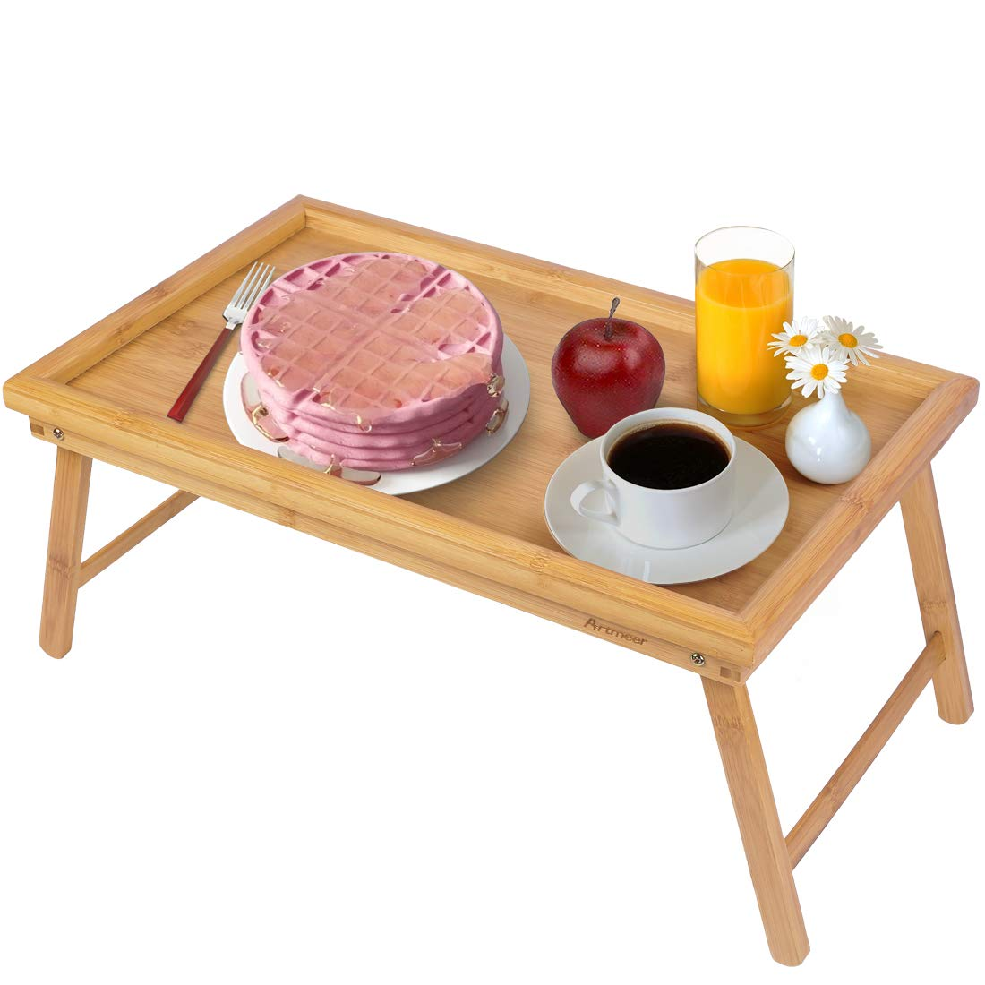 Artmeer Bed Tray Table with Folding Legs,Serving Breakfast in Bed or Use As a TV Table, Laptop Computer Tray, Snack Tray