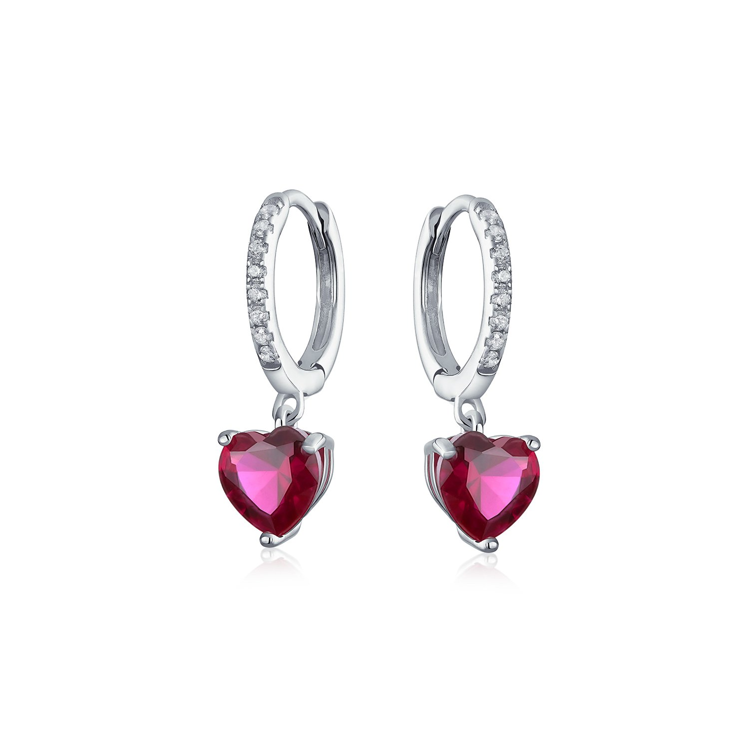 Personalized CZ Pink Heart Huggie Hoop Leverback Earrings Cubic Zirconia Simulated Ruby Sterling Silver Custom Engraved