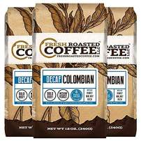 Fresh Roasted Coffee LLC, Colombian Swiss Water Decaffeinated Coffee, Medium Roast, Ground Coffee, 12 Ounce Bag, 3 Pack