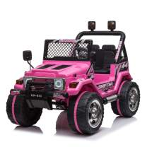 VALUE BOX Kids Ride On Truck 2.4G Remote Control, Children Electric Ride-on Jeep Cars Toy Car 12V Battery Motorized Vehicles Age 3-8 w/ 3 Speeds, LED Lights,Horn, Music Player, Safe Seat Belts(Pink)