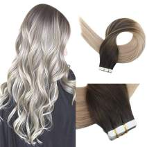 Full Shine 16 inch Balayage Tape In Hair Extensions Remy Human Hair Color #2 Fading to #18 and #60 Blonde Ombre Skin Weft Tape Hair Extensions 50G Per Set