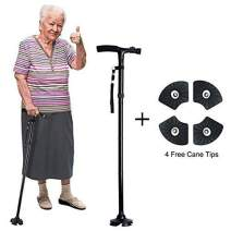 Folding Cane Walking Stick LED Flashlights Dependable Adjustable Height Lightweight Non Slip for Men Women