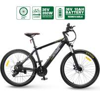 """HOTEBIKE 36V 350w Ebike Electric Bike 26"""" E Bikes for Adults Aluminum Alloy Mountain Bicycle with 21 Speed Shift Removable Hidden Battery 160 disc Brake"""