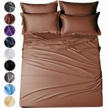 "SAKIAO -6PC Full Size Bed Sheets Set - Brushed Microfiber 1800 Thread Count Percale - 16"" Deep Pocket Wrinkle Free & Fade Resistant - Egyptian Sheet Set (Brown,Full)"