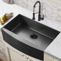 33 Farmhouse Sink ALWEN 33 inch Black Kitchen Sink Stainless Steel 10 inch deep, ALWEN Gunmetal Apron Kitchen Sink, 16 Guage Black Sink with Black Kitchen Sink Drain