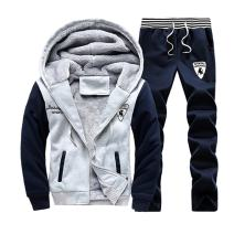 Sun Lorence Men's Winter Fleece Lined Hoodie Sweat Suit Full Zipper Tracksuit Set