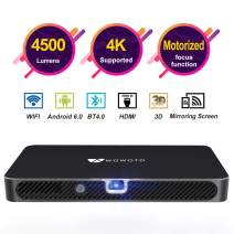 "Mini Projector WOWOTO A8 Pro 200 ANSI Lumen Android 6.0 Support Full HD 1080P Smart Wi-Fi Projector 4200mAh battery 150""Image DLP Video Projector with BT4.0/HDMI/USB/Outdoor Projector for Home Theater"