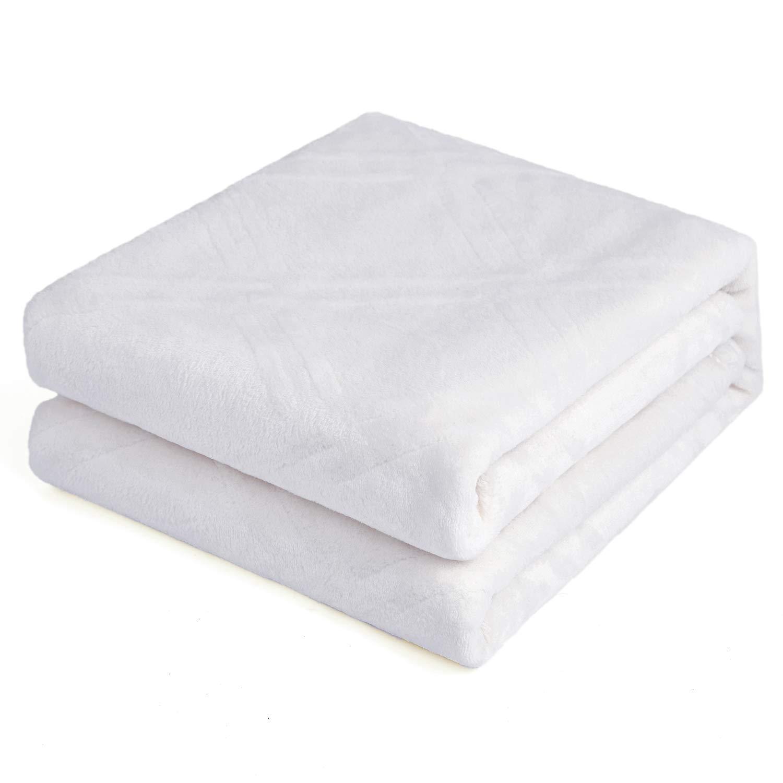 "HT&PJ Super Soft Lightweight Flannel Fleece Throw Blanket Microfiber Velvet Cozy Warm Throw Blanket for Living Room (White, (Twin 60"" X 80""))"