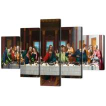 The Last Supper,Leonardo Da Vinci Classic Reproductions,5 PCS Oil Painting on Canvas Giclee Print and Museum Quality Framed Art for Wall Décor Gallery Wrap Artwork Stretched Ready To Hang(60''Wx40''H)
