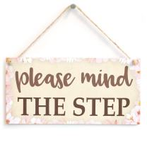 """Meijiafei Please Mind The Step - Floral Bordered Functional Home Decor Plaque 10"""" x 5"""""""