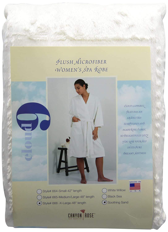 Canyon Rose Cloud 9 Women's Plush Microfiber Full Length Spa Robe, Soothing Sand, XL