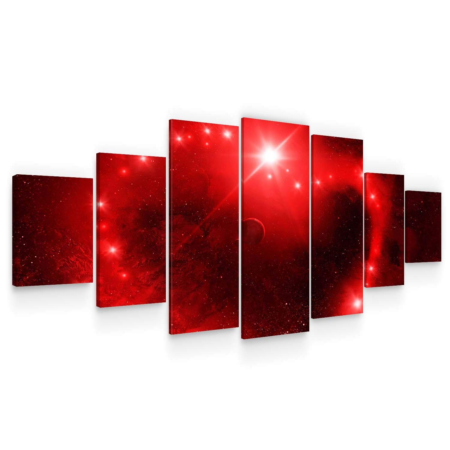 Startonight Huge Canvas Wall Art Red Space - Large Framed Set of 7 40 x 95 Inches