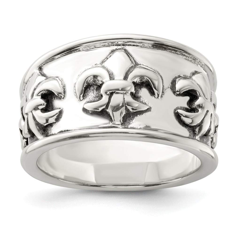925 Sterling Silver Fleur De Lis Band Ring Fine Jewelry Gifts For Women For Her