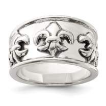 925 Sterling Silver Fleur De Lis Band Ring Fine Mothers Day Jewelry For Women Gifts For Her