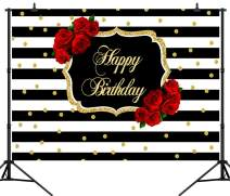CapiSco 7X5FT Happy Birthday Backdrop Roses Flowers Background for 30th 40th 50th Fabulous Birthday Party Black and White Stripes Girl Women Photography Background Cake Table Decorations SCO36
