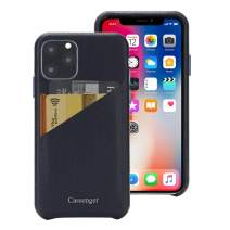 Cassenger Slim Fit Genuine Italian Leather Hard Back Case Protective Cover Snap On Case with 2 Card Holder Slots for iPhone 11 Pro 2019-Deep Blue
