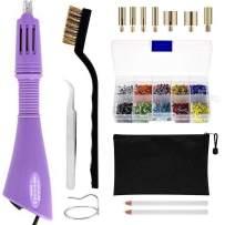 Hotfix Applicator, DIY Rhinestone Wand Setter Tool Kit Include 7 Different Sizes Tips, Tweezers & Brush Cleaning kit, 2 Pencils, and Hot-Fix Crystal Rhinestones (10 Colors Rhinestone) (Purple)