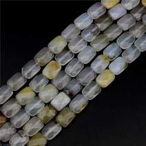 "Oameusa Agate Beads 12x16mm White Agate Rectangle Agate Beads Round Beads Gemstone Beads Loose Beads Accessories Agate Beads for Jewelry Making 8"" 1 Strand per Bag-Wholesale"