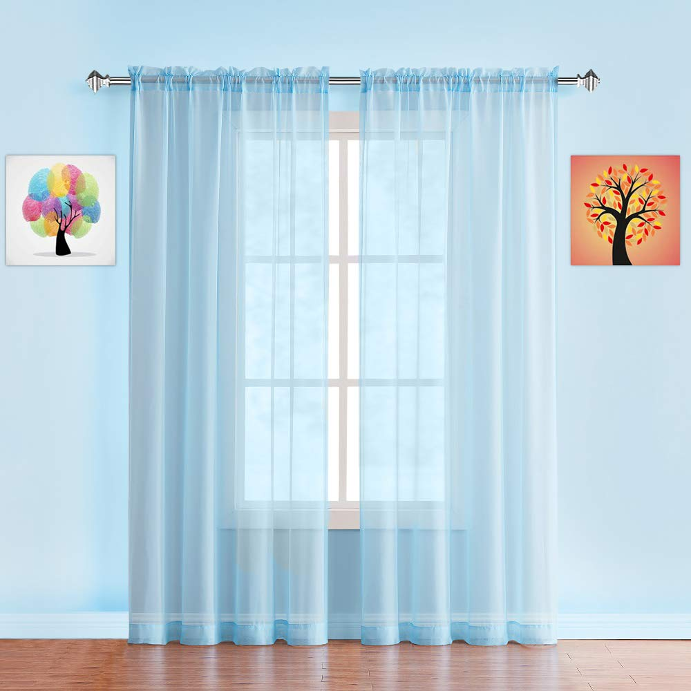"""Warm Home Designs Pair of Extra Long Baby Blue Sheer Window Curtains. Each Voile Drape is 56 X 108 Inches in Size. Great for Kitchen, Living or Kids Room. 2 Fabric Panels. AM Baby Blue 108"""""""