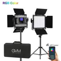 GVM RGB LED Video Lighting Kit, 800D Studio Video Lights with APP Control, Video Lighting Kit for YouTube Photography Lighting, 2 Packs Led Panel Light, 3200K-5600K