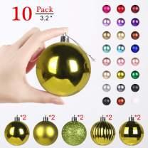 Christmas Balls Ornaments for Xmas Tree - Shatterproof Christmas Tree Decorations Large Hanging Ball Lemon Green3.2 x 10 Pack