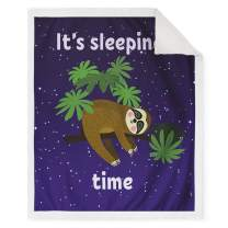 """Jekeno Sloth Sherpa Throw Blanket Print Smooth and Soft Blanket Kid Baby for Sofa Chair Bed Office Travelling Camping 50""""x60"""""""
